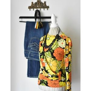 Zara Faux Wrap Yellow and Orange Floral Blouse